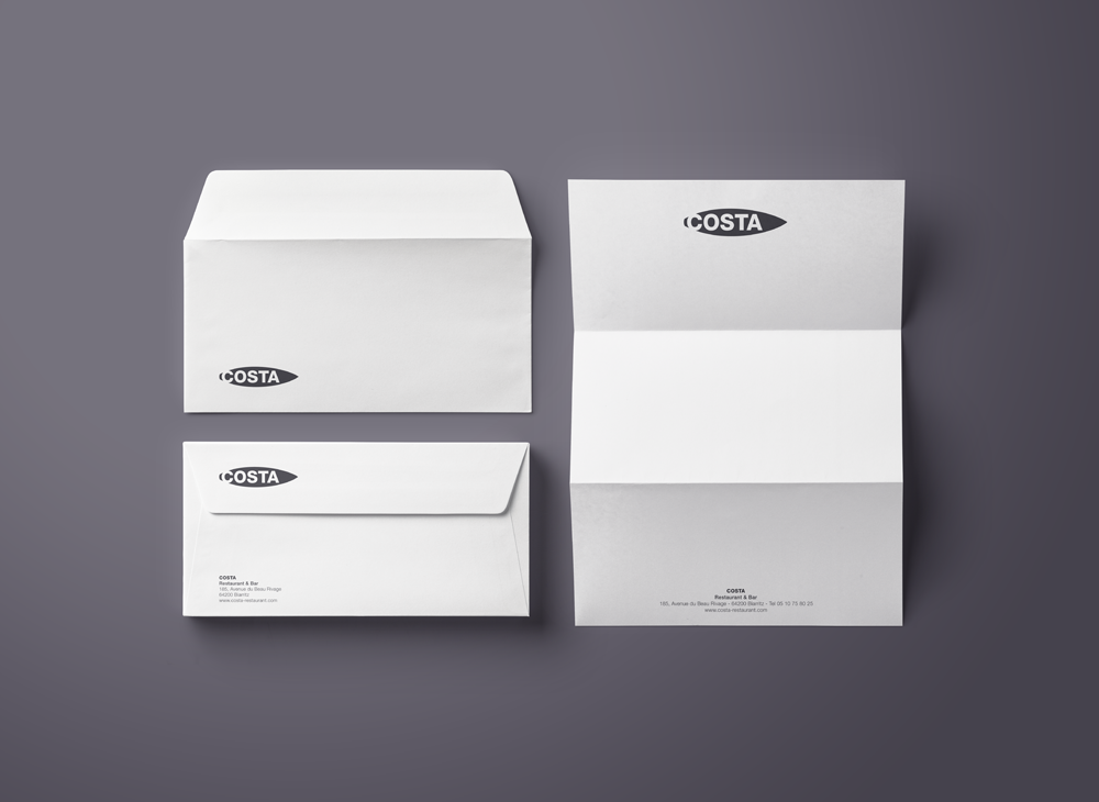 Branding Identity for Visual identity and stationery design for Costa Restaurant.