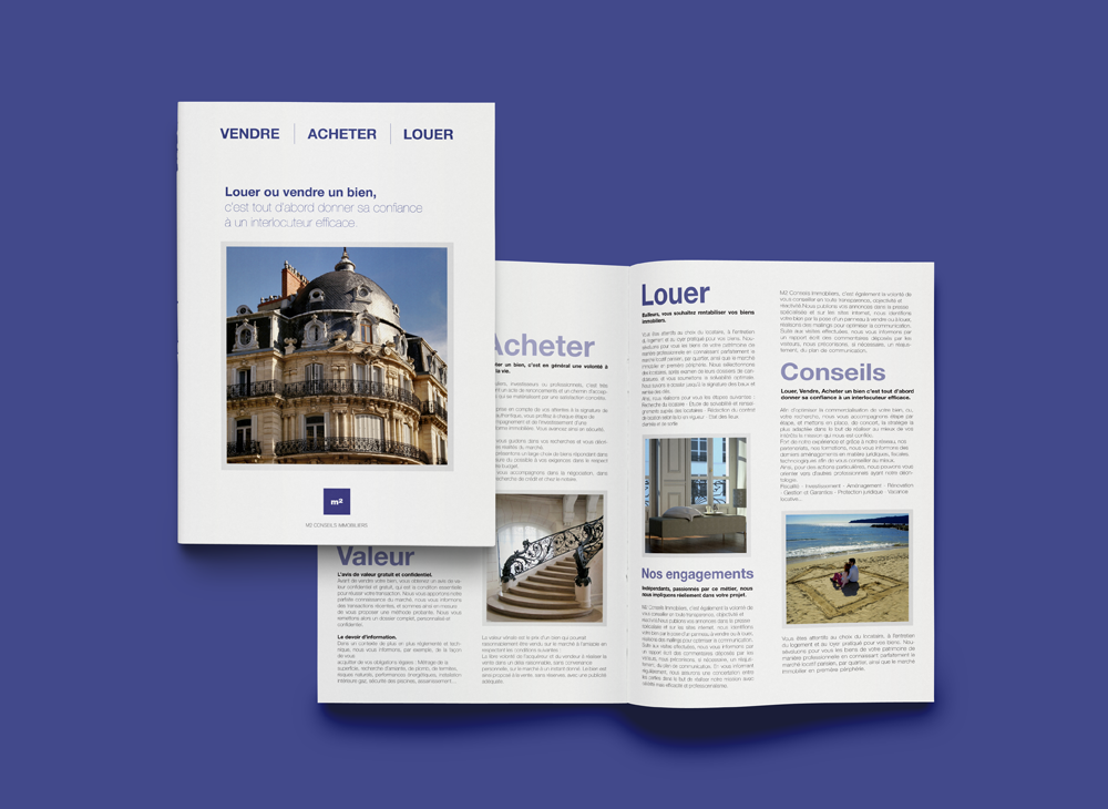 Branding & Corporate Stationery for Brochure A4 hallf fold for M2 Conseils Immobiliers.