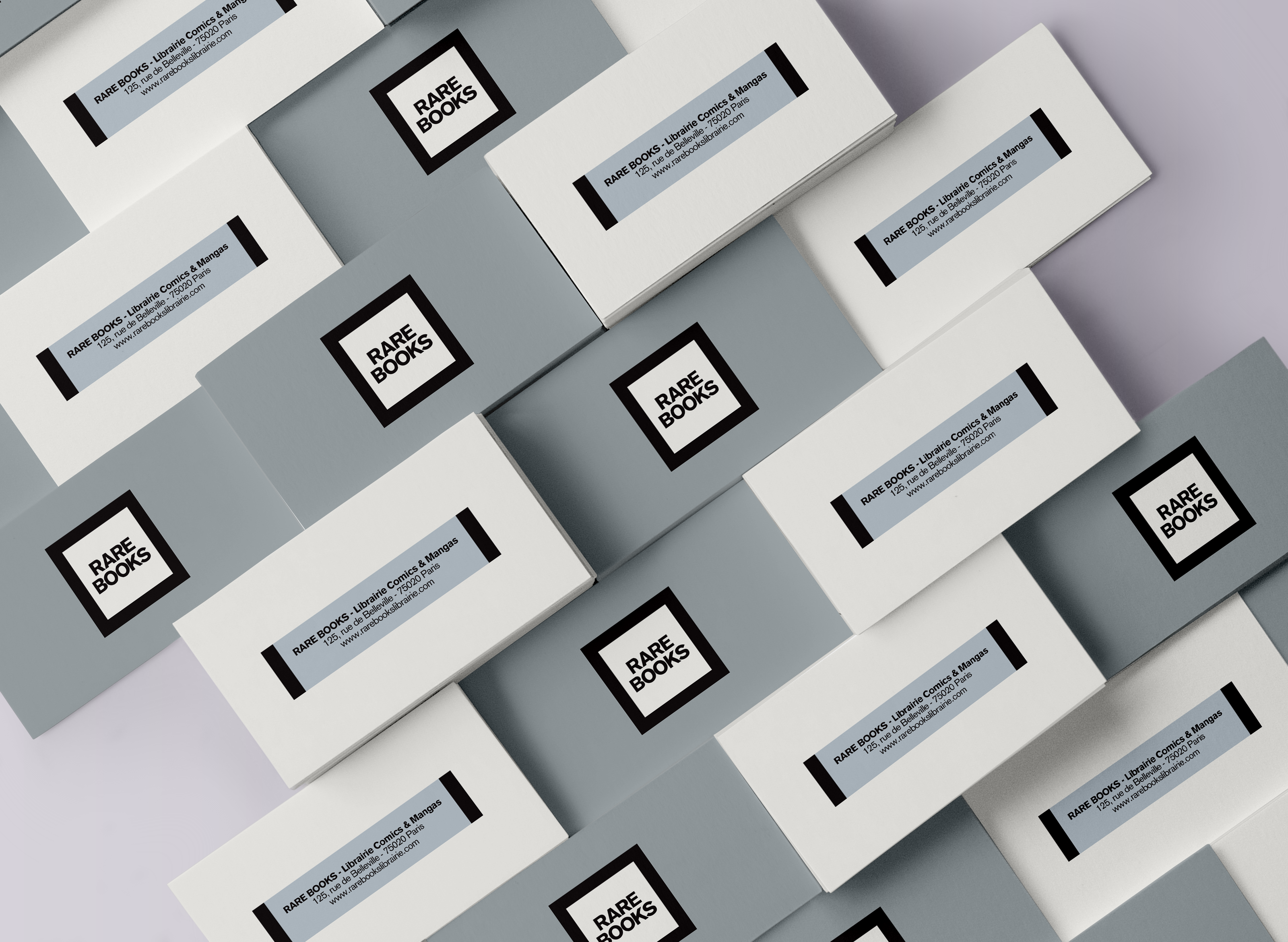 Branding Identity for Visual identity and packaging for Rare Books Bookstore.