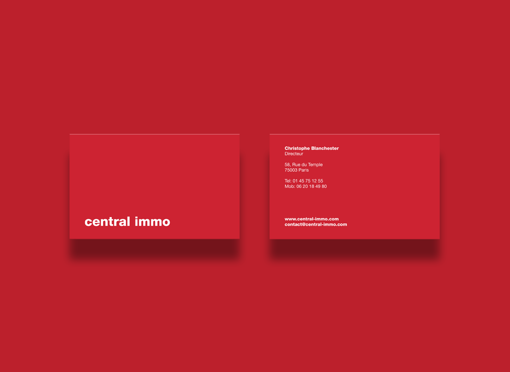 Branding Identity for Visual identity for Central Immo, Paris based real estate agency.