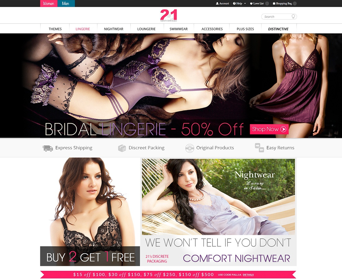Web development for 21Roses - Online Lingerie Website
